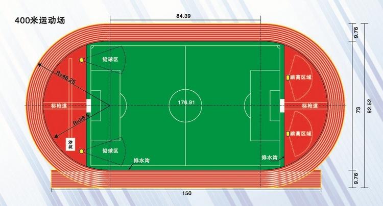 400米标准跑道和200米标准跑道平面图